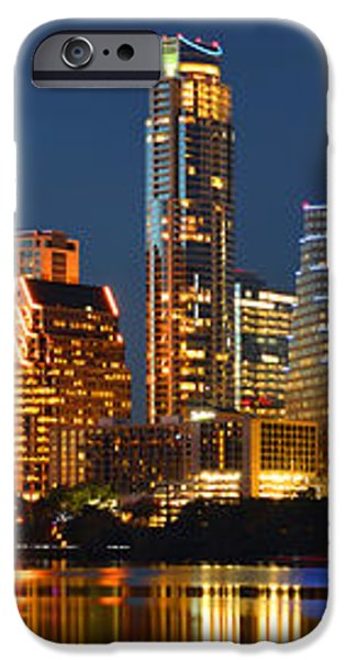Austin Skyline at Night Color Panorama Texas iPhone Case by Jon Holiday