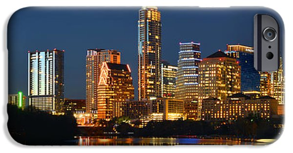Big Cities iPhone Cases - Austin Skyline at Night Color Panorama Texas iPhone Case by Jon Holiday