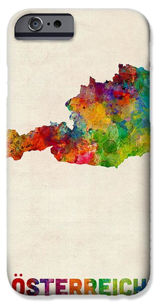 Austria iPhone Cases - Austria Watercolor Map iPhone Case by Michael Tompsett