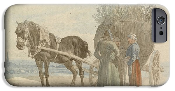 Horse And Cart Paintings iPhone Cases - Austrian Peasants with a Horse and Cart iPhone Case by Johann Adam Klein