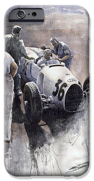 Sports iPhone Cases - Auto Union B type 1935 Italian GP Monza B Rosermeyer iPhone Case by Yuriy  Shevchuk