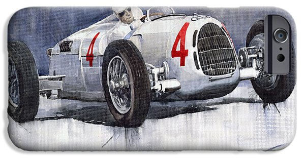 Autos iPhone Cases - Auto Union C Type 1937 Monaco GP Hans Stuck iPhone Case by Yuriy  Shevchuk