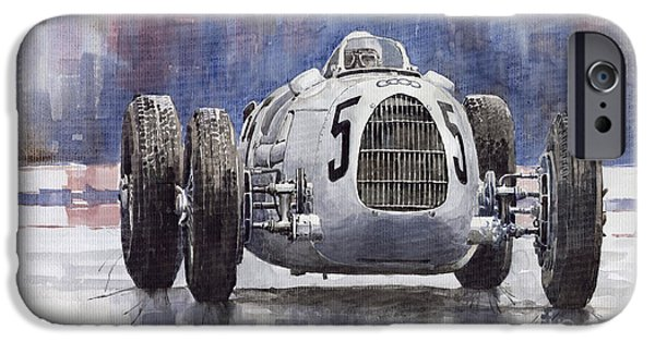 Sport Paintings iPhone Cases - Auto-Union Type C 1936 iPhone Case by Yuriy  Shevchuk