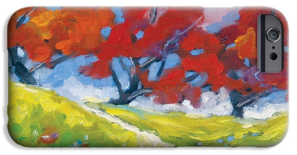 Canadiens Paintings iPhone Cases - Automn Trees iPhone Case by Richard T Pranke