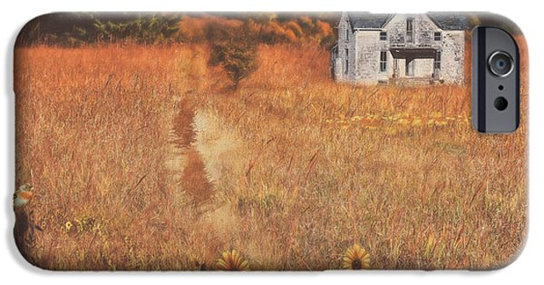 House iPhone Cases - Autumn Abandoned House In The Prairie iPhone Case by Anna Surface
