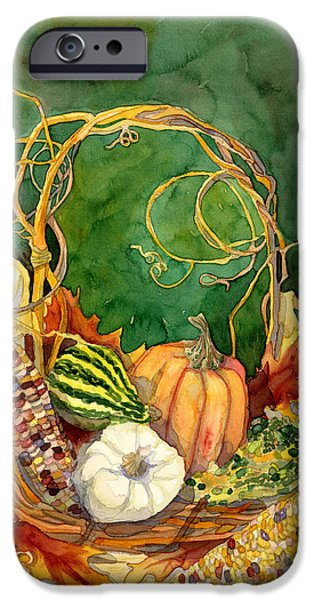 On Paper Paintings iPhone Cases - Autumn Abundance - Fall Harvest Basket Indian Corn Pumpkin Gourds iPhone Case by Audrey Jeanne Roberts
