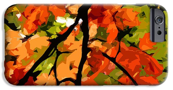 Red Abstract iPhone Cases - Autumn Ablaze iPhone Case by Jean Hall