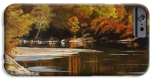 Fall Scenes Paintings iPhone Cases - Autumn Along the Stillaguamish iPhone Case by Suzanne Schaefer