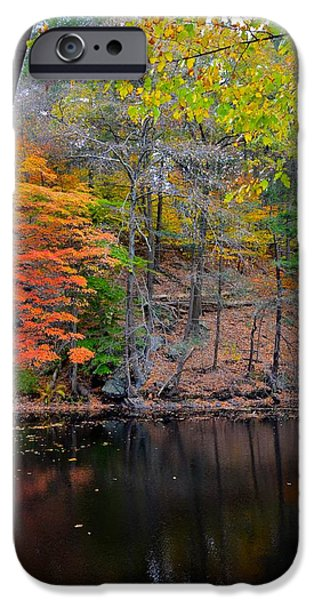Charles River iPhone Cases - Autumn at Echo bridge iPhone Case by Corinne Rhode