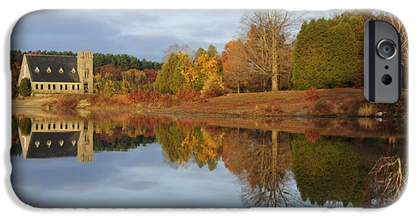 Fall In New England iPhone Cases - Autumn at the Old Stone Church iPhone Case by Luke Moore