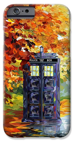 Night Angel Drawings iPhone Cases - Autumn blue phone box Digital Art iPhone Case by three Second