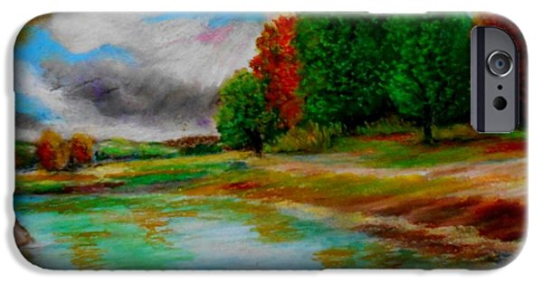 Tree Print Pastels iPhone Cases - Autumn calm iPhone Case by Constantinos Charalampopoulos