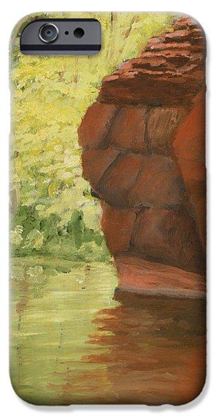 Oak Creek Paintings iPhone Cases - Autumn Calm on Oak Creek iPhone Case by Robert Hoffman