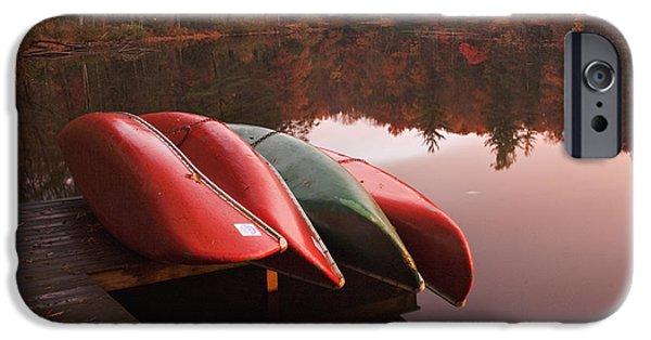 Canoe iPhone Cases - Autumn Canoe iPhone Case by Harold Stinnette