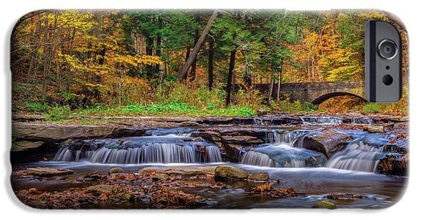Nature Scene iPhone Cases - Autumn Cascades iPhone Case by Mark Papke