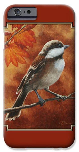 Wild Animals iPhone Cases - Autumn Chickadee iPhone Case by Crista Forest