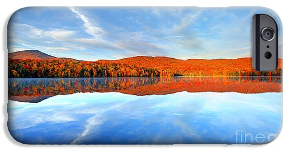 Morning iPhone Cases - Autumn color reflecting on a small pond in Vermont iPhone Case by Denis Tangney Jr