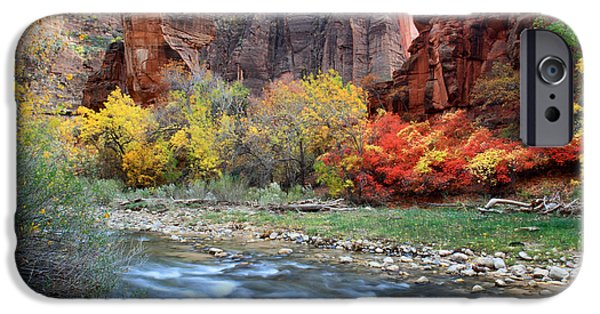 Zion Park iPhone Cases - Autumn Colors at Sinawava temple  iPhone Case by Pierre Leclerc Photography