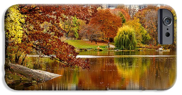 Empire State iPhone Cases - Autumn Colors in Central Park New York City iPhone Case by Sabine Jacobs