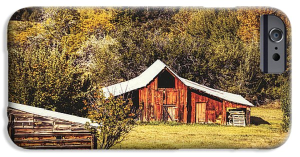 Crops iPhone Cases - Autumn Corn Crib and Barn iPhone Case by Janice Rae Pariza