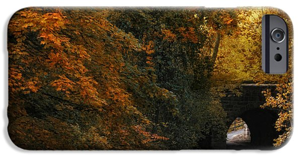 Creek iPhone Cases - Autumn Country Bridge iPhone Case by Jessica Jenney