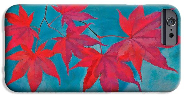 Autumn Leaf On Water iPhone Cases - Autumn Crimson iPhone Case by William Jobes