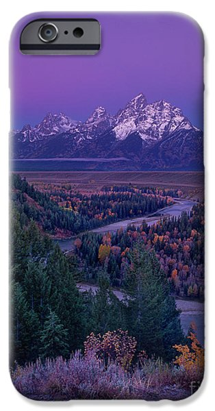 Dave iPhone Cases - Autumn Dawn Snake River Overlook Grand Tetons Nat iPhone Case by Dave Welling