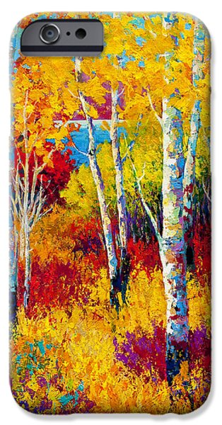 Birch Tree iPhone Cases - Autumn Dreams iPhone Case by Marion Rose