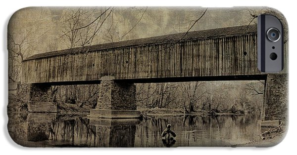 Covered Bridge iPhone Cases - Autumn Fisherman - Tyler State Park iPhone Case by Bill Cannon