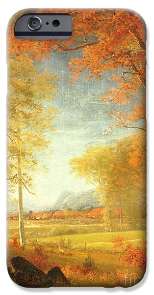 Turning Leaves iPhone Cases - Autumn in America iPhone Case by Albert Bierstadt
