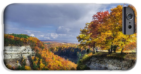 Nature Scene iPhone Cases - Autumn in Letchworth iPhone Case by Mark Papke