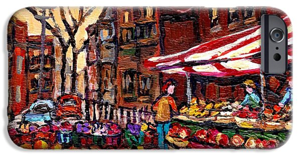 Canadian Culture Paintings iPhone Cases - Autumn In The City Outdoor Market Small Format Paintings For Sale Best Montreal Art Carole Spandau iPhone Case by Carole Spandau