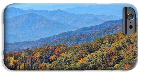 Tree Art Print iPhone Cases - Autumn In The Smokies by H H Photography of Florida iPhone Case by HH Photography of Florida