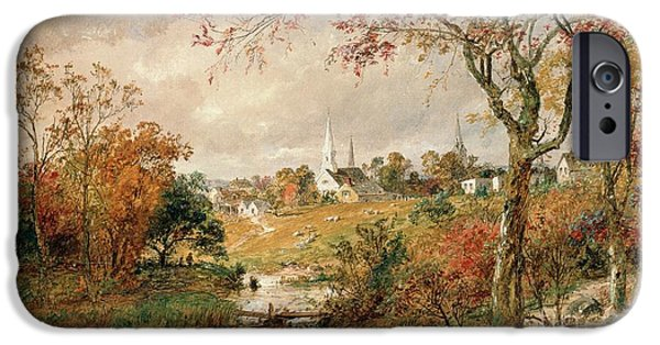 New England Landscapes iPhone Cases - Autumn Landscape iPhone Case by Jasper Francis Cropsey