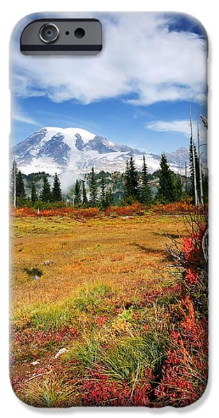 Mt Rainier iPhone Cases - Autumn Majesty iPhone Case by Mike  Dawson