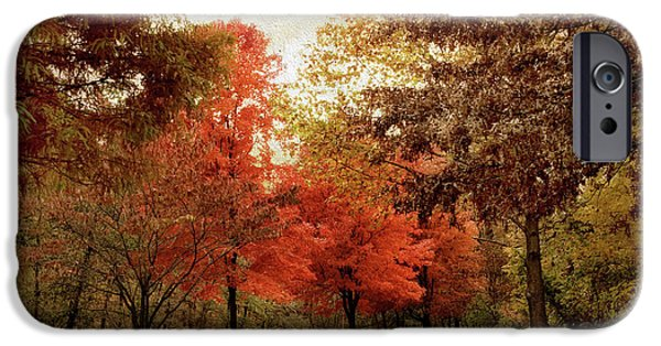 Red Leaf Digital iPhone Cases - Autumn Maples iPhone Case by Jessica Jenney