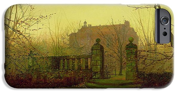 Turning Leaves iPhone Cases - Autumn Morning iPhone Case by John Atkinson Grimshaw