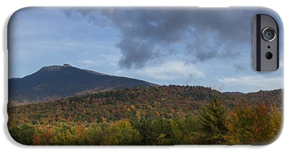 Drama iPhone Cases - Autumn panorama Mount Mansfield Vermont Storm iPhone Case by Andy Gimino