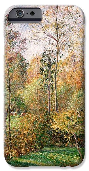 Camille Pissarro iPhone Cases - Autumn Poplars Eragny iPhone Case by Camille Pissarro