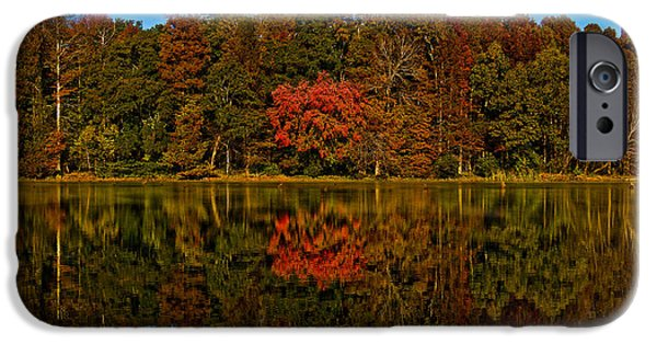 Creek iPhone Cases - Autumn Reflection On Stevens Creek iPhone Case by Michael Whitaker