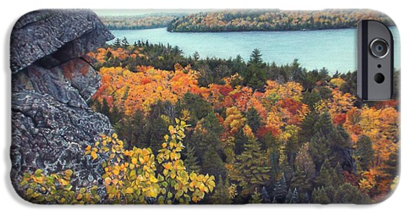 Pastel iPhone Cases - Autumn Rocks Booths Rock Lookout iPhone Case by Susan Fraser SCA