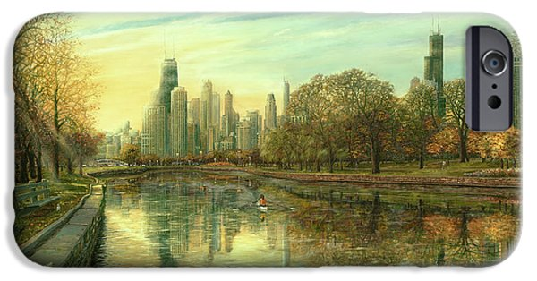 Hancock Building iPhone Cases - Autumn Serenity iPhone Case by Doug Kreuger
