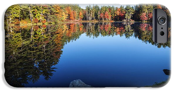 Reflections Of Sky In Water iPhone Cases - Autumn serenity in Maine USA iPhone Case by Vishwanath Bhat