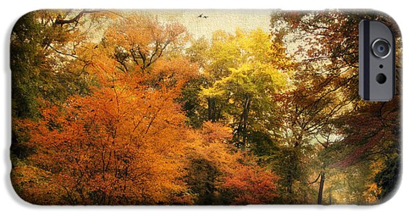 Autumn Road iPhone Cases - Autumn Settles In iPhone Case by Jessica Jenney