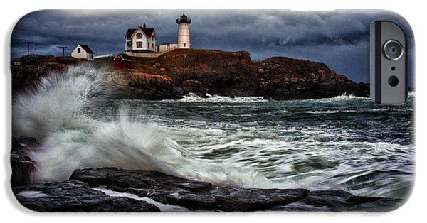 Nubble Lighthouse iPhone Cases - Autumn Storm at Cape Neddick iPhone Case by Rick Berk