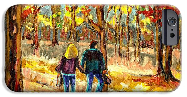 Montreal Land Marks Paintings iPhone Cases - Autumn  Stroll On Mount Royal iPhone Case by Carole Spandau