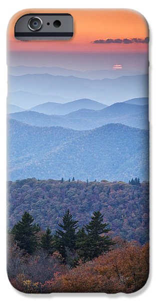 Autumn Photographs iPhone Cases - Autumn Sunset on the Parkway iPhone Case by Rob Travis