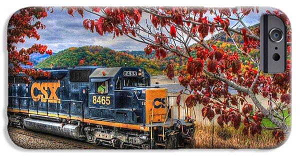 Autumn iPhone Cases - Autumn Train iPhone Case by Judy Baird