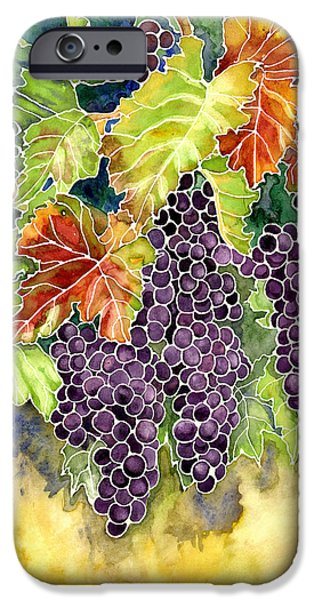 Cabernet Sauvignon iPhone Cases - Autumn Vineyard in its Glory - Batik Style iPhone Case by Audrey Jeanne Roberts