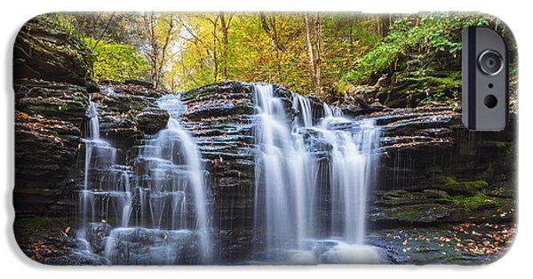 Ledge iPhone Cases - Autumn Waterfall iPhone Case by Xavier Ascanio